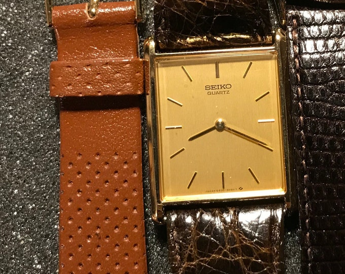 Vintage 1984 NOS Seiko Tank SGP Gold Plated 5-Jewels Water Resistant Men's/Ladies/Unisex Watch w/ Leather Band!