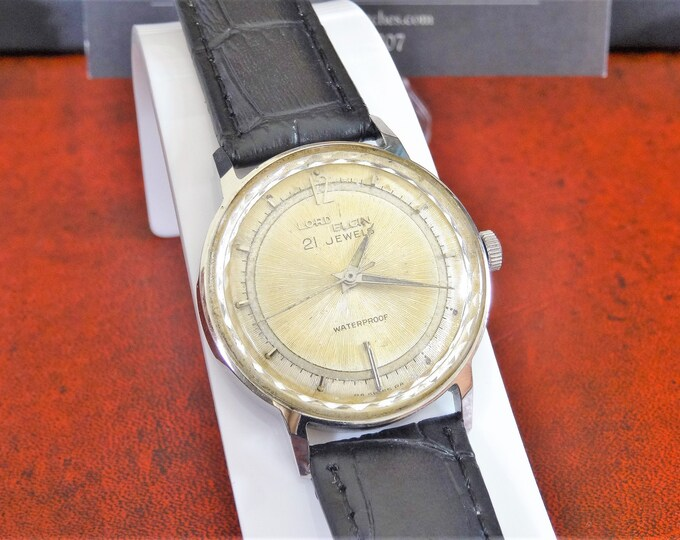 Vintage Lord Elgin 21-Jewels Hand Winding Men's Watch w/ 18mm Leather Band!