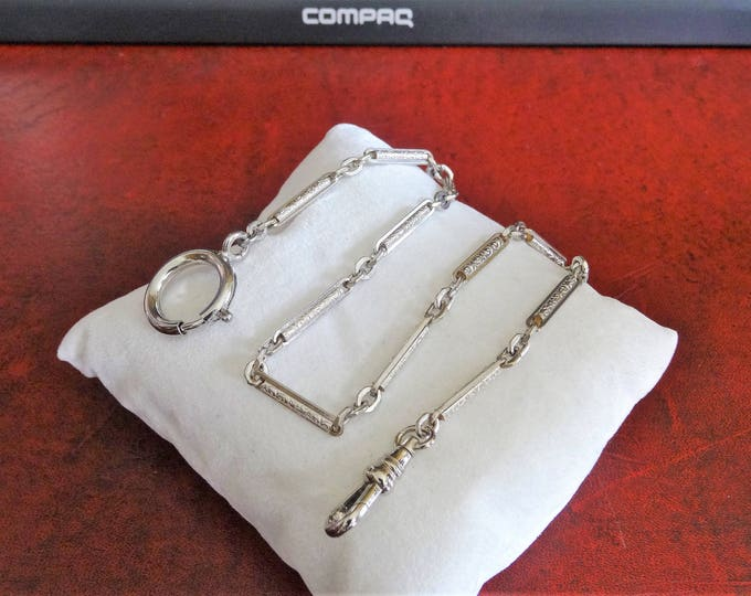 Antique Silver Plated 12.90 Grams Pocket Watch Chain!