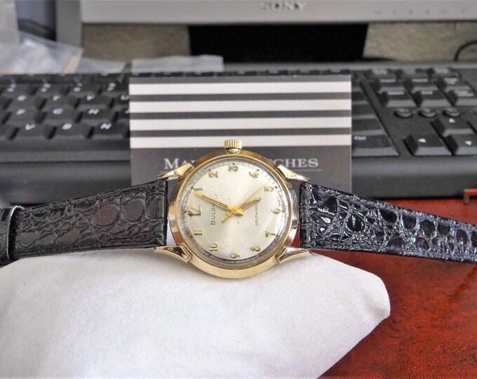 Vintage 1965 Bulova 10K R.G.P. Bezel Waterproof Men's Watch w/ 16mm Leather Band