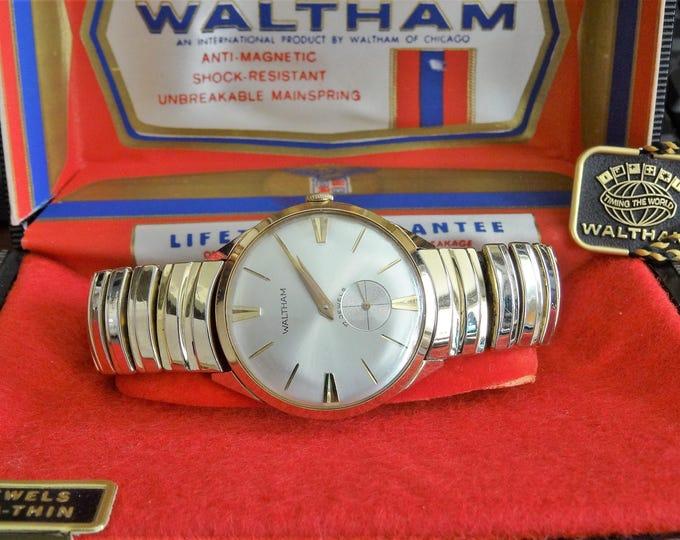 Vtg Waltham Gold Tone 17J Swiss Mens Watch w/ Waltham Case & 18mm Gold Tone Band