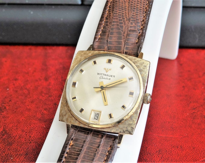 Vtg 1960s Wittnauer Geneve 10K Rolled Gold Plated Bezel Mens Watch w/ 17mm Genuine Leather Band!