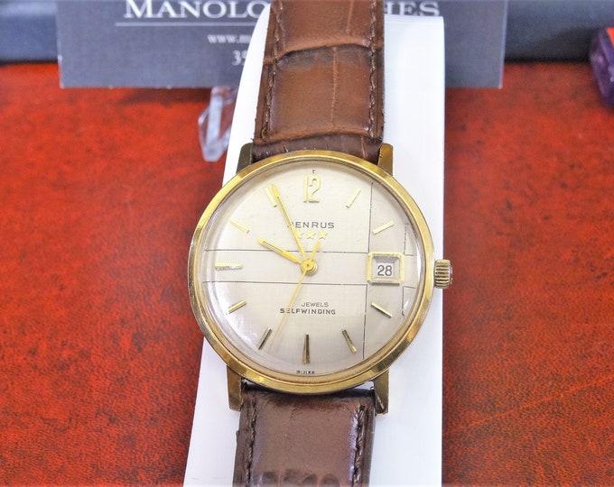 Vintage Benrus 3 Star 20 Micron Gold Electroplate Bezel Self-Winding Swiss Men's Watch w/ 18mm Hadley Roma Band!
