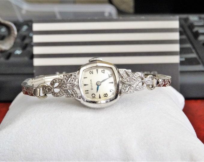 Vintage Bulova 10K R.G.P. 2 Diamonds Swiss Ladies Watch w/ 10K Gold Filled Band!
