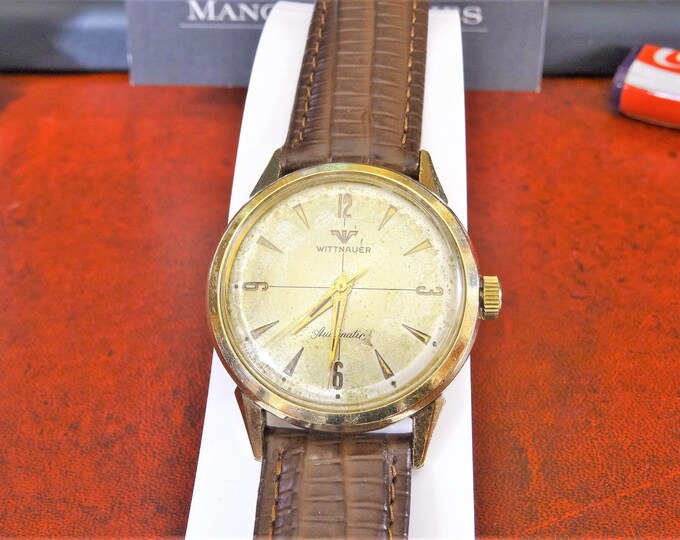Vtg 1960's Wittnauer 10K G.F. Bezel Automatic Men's Watch w/ 18mm Leather Band!