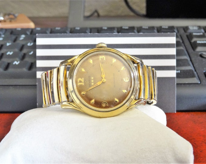 Vtg 1950s Benrus 3-Star 10K Gold Filled Self Wind 17-J Men's Watch w/ 18mm Band