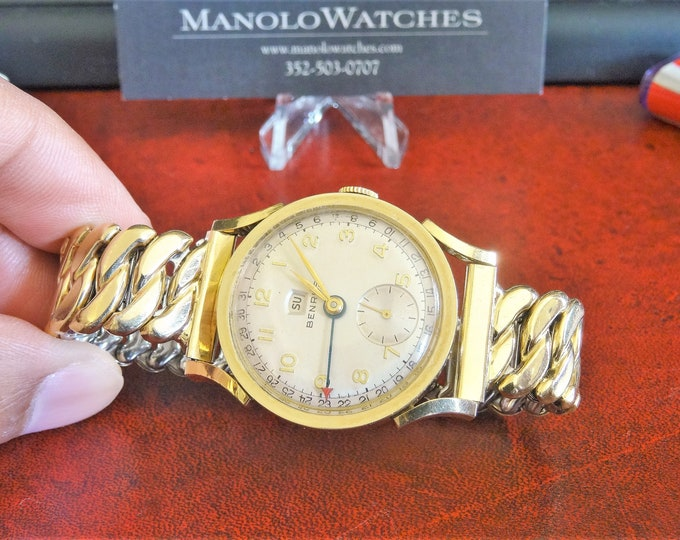 Vtg Benrus Pointer 10K Gold Filled Day/Date Mens Watch w/ 14mm 1/20 14K Top Band