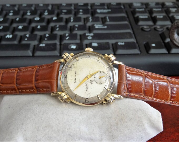 Vintage 1951 Bulova 10K Rolled Gold Plate Mens Watch w/ 16mm Hadley Roma Band!