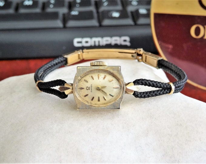 Vintage Omega 14K Solid Gold Swiss 17J Ladies Watch w/ 1/20 12K G.F. Rope Band!