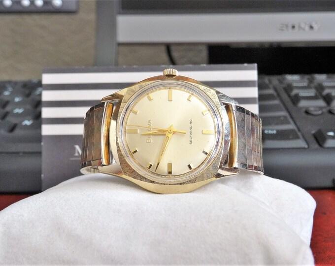 Vtg 1966 Bulova .0015 Gold Electroplate Bezel Men's Watch w/ 14K R.G.P. Band!