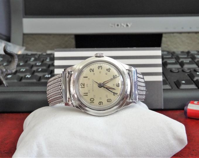 Vtg 1940s WWII Era Wittnauer Military Hand Winding 17 Jewels Swiss Mens Watch w/ 17mm Band
