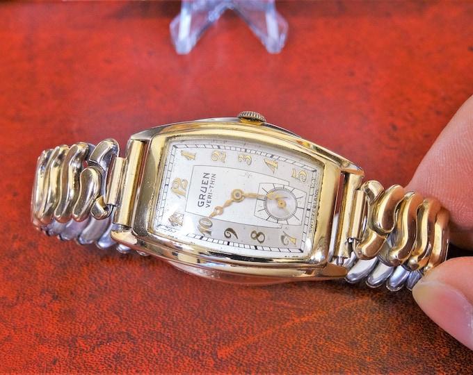 Vintage Gruen Veri-Thin Engraved Swiss Men's Watch w/ 1/20 12K Gold Filled Band!