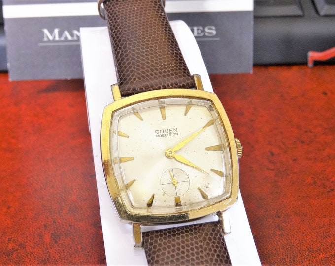 Vintage 1960s Gruen Precision Gold Tone 17-J Movement N510 Swiss Men's Watch w/ 18mm Genuine Leather Band!