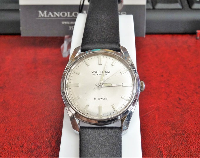 Vtg 1970s Waltham Self-Winding 17-Jewel Men's Watch w/ 18mm Genuine Leather Band
