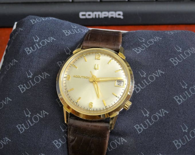Vtg 1970 Bulova Accutron 14K G.F. Engraved Mens Watch w/ Box & 18mm Leather Band
