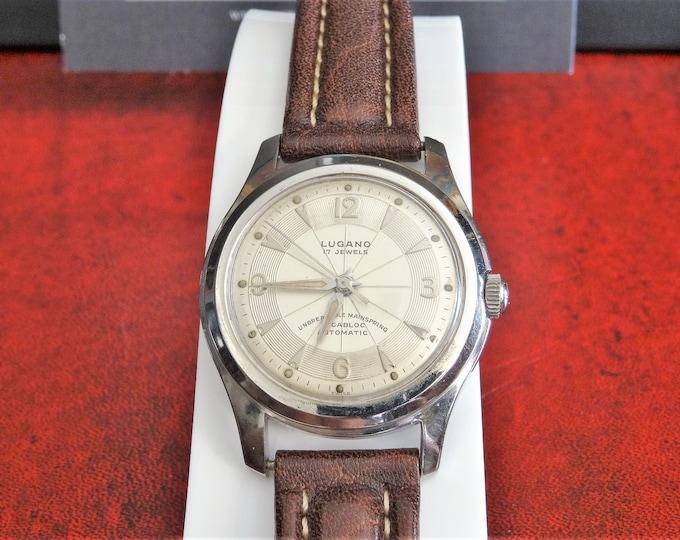Vintage Lugano Langel Automatic 17-Jewels Incabloc Men's Watch w/ 16mm Leather Band!
