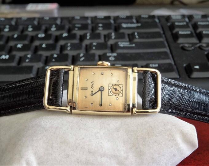Vtg 1940s Bulova 14K Gold Filled 17-Jewels Mens Unisex Watch w/ 16mm Teju Lizard Band!