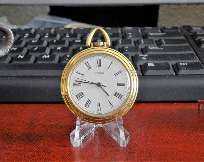 Vintage Timex Gold Tone Winding 40.7mm Pocket Watch!