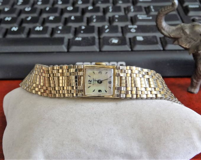 Vtg Geneva by Macy's 10K R.G.P. Bezel 17-Jewels Ladies Watch w/ 1/20 12K Band!