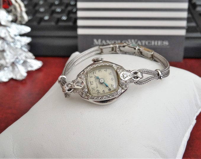 Vintage 1953 Bulova 10K White Gold Filled Hand Winding Ladies Watch w/ Rope Band
