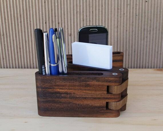 Organisateur de bureau en bois pièce d accent de bois support de