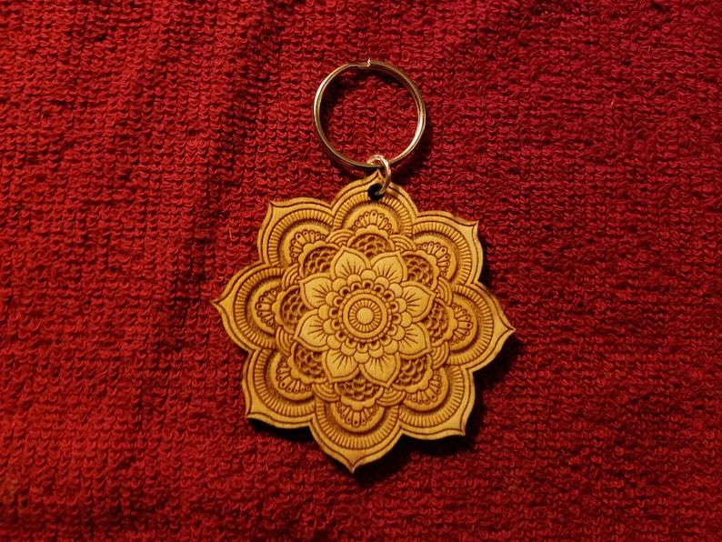 Mandala Key Chain 2 12 diameter Baltic Birch