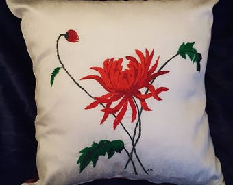 Embroidered cushion cover, hand embroidered cushion cover, luxurious cushion cover, one-of-a-kind, cadeau, cottage, housse brodée
