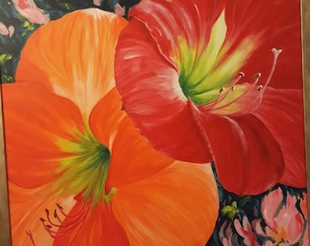 Original acrylic painting, hand painted, flowers painting, art, gift for her, peinture originale, one-of-a kind, artwork, unique