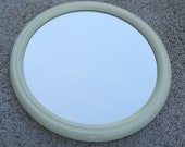 Vintage Retro Round Mirror. Space Age.white 70's mirror Tiger