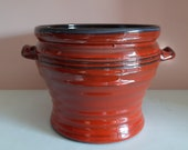 Mid-century Fat lava flower pot, planter red ceramics