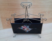 Mid-Century Magazine rack with floral vintage.