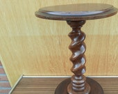 Impressive Huge Ornate Hand Carved Wood Barley Twist Side Display Table Pedestal Plant Bonsai Stand Mid century Modern Country Farmhouse