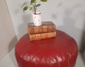 Vintage Red Leather Pouf Poof Hocker Footstool Patchwork