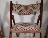 Unique folding chair folding chair teak with embroidered seat and back vintage