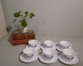 6 St. Arcopal Blue Onion Cup and Dishes Vintage