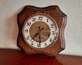 Vintage German wall clock oak electric with glass