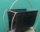 Vintage Antic Brass Magazine Rack with black leather