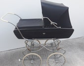 Vintage English combination stroller Black van Delft from the 60's
