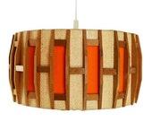 VINTAGE Scandinavian Hanging LAMP in Wood and Natural Jute