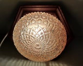 Vintage flower plafonniere amber with wood retro