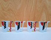 Set of 4 extremely rare sipping pipe mug Atelier Lesov porcelain Memphis style