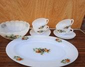 Arcopal France, the Fruits, 4 tea/soup bowls, serving bowl, bowl