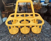 Retro Bottle Carrier (magazine rack, yellow, 1970s)