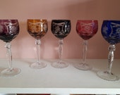 Bohemian Crystal Wine Glasses 5 pieces vintage