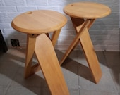 Roger Tallon TS Folding Stool/Pair of Vintage Wooden Stool from France 70's/Mid Century Modern Design