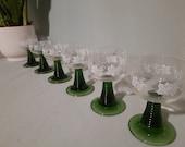 Set of 6 Small Roemer Crystal Wine Glasses Printed Vintage