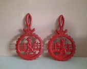 Set coasters cast iron red farmer and farmer'sin