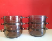 6 st. VTG Arcoroc France Smoke glass soup bowls
