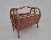 Rattan newspaper tray reading tray vintage