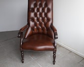 Vintage chesterfield Library stand chair leather tabacco